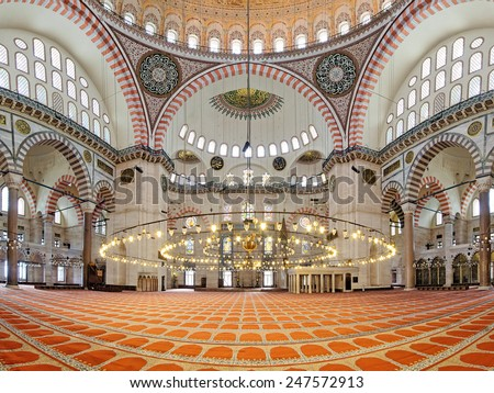 ISTANBUL, TURKEY - NOVEMBER 13, 2014: Interior of Suleymaniye Mosque. This largest mosque of Istanbul was built in 1550-1580 by design of the chief Ottoman architect Mimar Sinan. - stock photo