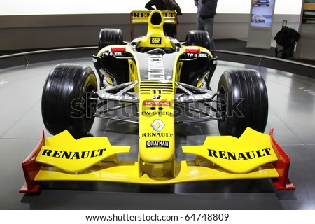 ISTANBUL, TURKEY - NOVEMBER 07: Renault F1 car at 13th International Auto Show on November 07, 2010 in Istanbul, Turkey. - stock photo