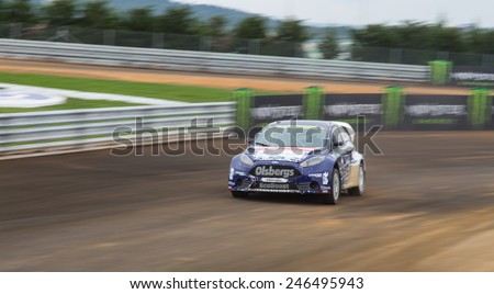 ISTANBUL, TURKEY - OCTOBER 12, 2014: Andreas Bakkerud drives Ford Fiesta ST of Olsbergs MSE Team in FIA World Rallycross Championship. - stock photo