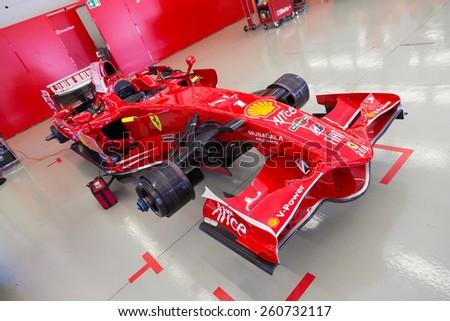 ISTANBUL, TURKEY - OCTOBER 25, 2014: F1 Car in garage of Ferrari Racing Days in Istanbul Park Racing Circuit - stock photo