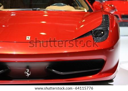 ISTANBUL, TURKEY - OCTOBER 30: Ferrari 458 Italia at 13th International Auto Show on October 30, 2010 in Istanbul, Turkey. - stock photo