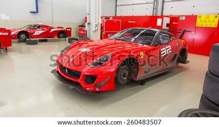 ISTANBUL, TURKEY - OCTOBER 25, 2014: Ferrari 599XX car in XX Programmes garage of Ferrari Racing Days in Istanbul Park Racing Circuit - stock photo