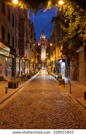 ISTANBUL, TURKEY - OCTOBER 16, 2015: Galata tower - stock photo