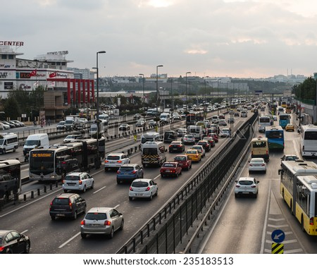 ISTANBUL, TURKEY - OCTOBER O8: Yenibosna district in istanbul Metrobus, a part of public transportation system, eases the traffic in Istanbul on OCTOBER O8, 2014 in Istanbul, Turkey - stock photo