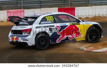 ISTANBUL, TURKEY - OCTOBER 11, 2014: Per Gunnar Andersson drives Audi S1 of EKS Team in FIA World Rallycross Championship. - stock photo