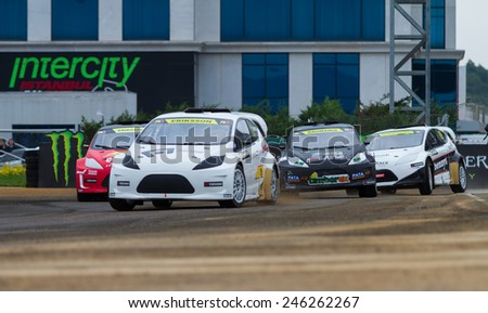 ISTANBUL, TURKEY - OCTOBER 12, 2014: Rallycross cars compite in FIA World Rallycross Championship. - stock photo