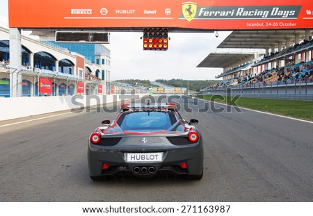 ISTANBUL, TURKEY - OCTOBER 26, 2014: Safety car in start of race during Ferrari Racing Days in Istanbul Park Racing Circuit - stock photo
