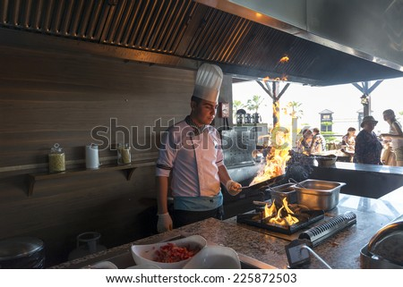 ISTANBUL TURKEY SEPT 28, 2014: Chef in restaurant kitchen doing flambe on food - stock photo