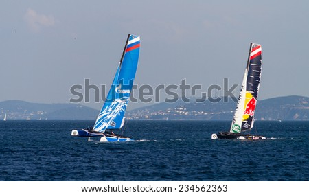 ISTANBUL, TURKEY - SEPTEMBER 13, 2014: Red Bull Sailing and Gazprom Team Russia competes in Extreme Sailing Series. - stock photo
