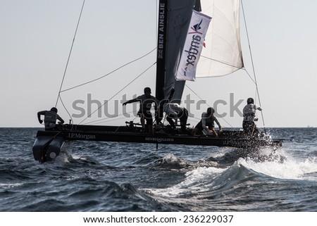 ISTANBUL, TURKEY - SEPTEMBER 13, 2014: Skipper Ben Ainslie, J.P. Morgan BAR Team competes in Extreme Sailing Series. - stock photo