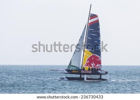 ISTANBUL, TURKEY - SEPTEMBER 14, 2014: Skipper Roman Hagara, Red Bull Sailing Team competes in Extreme Sailing Series. - stock photo