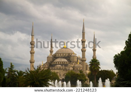 ISTANBUL, TURKEY - SEPTEMBER 23: The Sultan Ahmed Mosque  (Turkish: Sultan Ahmet Camii), popularly known as the Blue Mosque  on September 23, 2014 in Istanbul, Turkey - stock photo