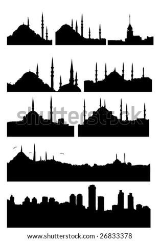 Istanbul Turkey silhouettes set - stock photo