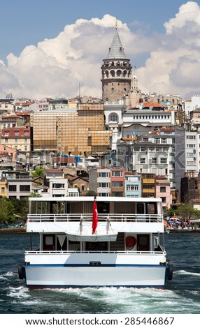 Istanbul, Turkey, View on Golden Horn bay and Galata Tower - stock photo