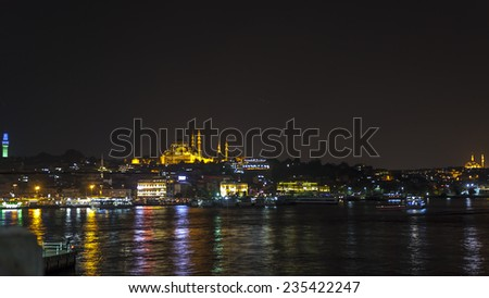 Istanbul, Turkey, View on Golden Horn bay from Galata Tower - stock photo