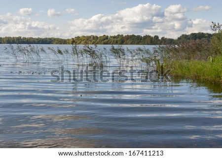 Istra water Reservoir landscape, Russia - stock photo
