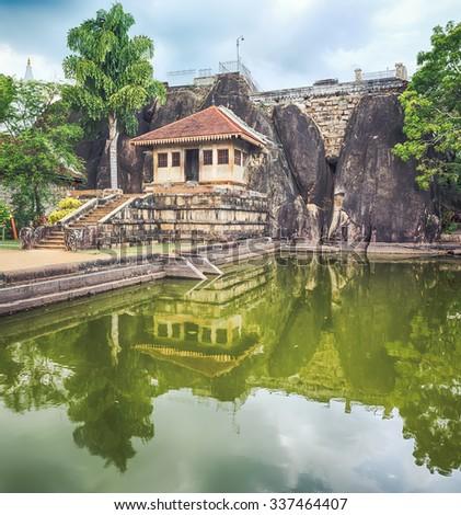 Isurumuniya Viharaya in the sacred world heritage city of Anuradhapura, Sri Lanka.  - stock photo