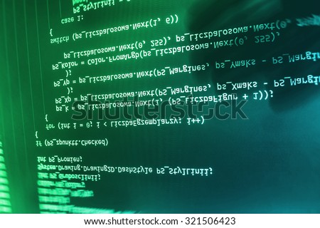 IT business web abstract software developer script data programming modern  computer laptop programmer cyberspace . Shallow DOF, selective focus effect. Code text written and created by myself - stock photo