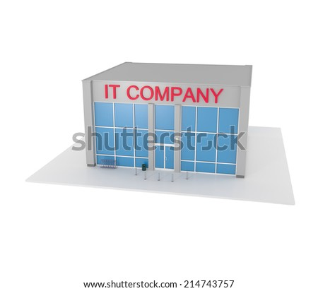 IT Company office building isolated on white - 3d illustration - stock photo