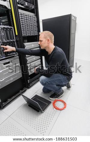 It consultant in datacenter - stock photo