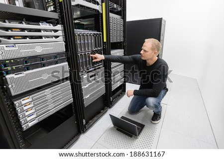 It consultant work in datacenter - stock photo