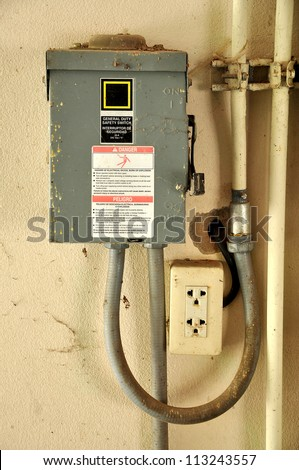 It is a cabinet for electrical or electronic equipment to mount switches, knobs and displays and to prevent electrical shock to equipment users and protect the contents from the environment - stock photo
