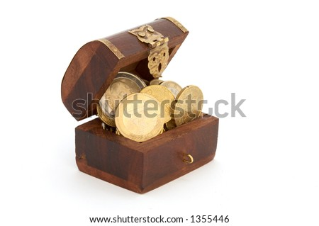 it is a coffer with some currencies inside - stock photo