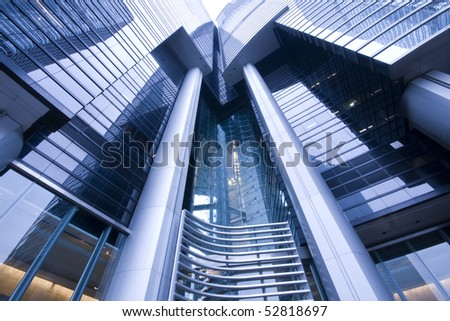 it is a modern  building in hong kong - stock photo