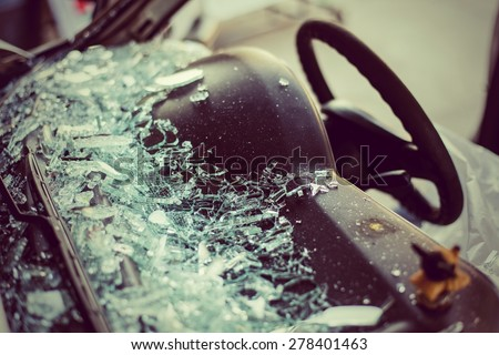 It is clear glass repair or auto accident on the road. - stock photo