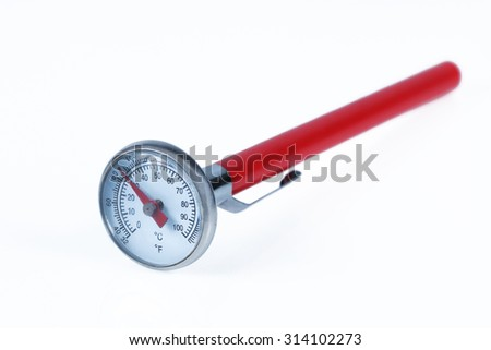 It is Food and beverage thermometer isolated on white. - stock photo