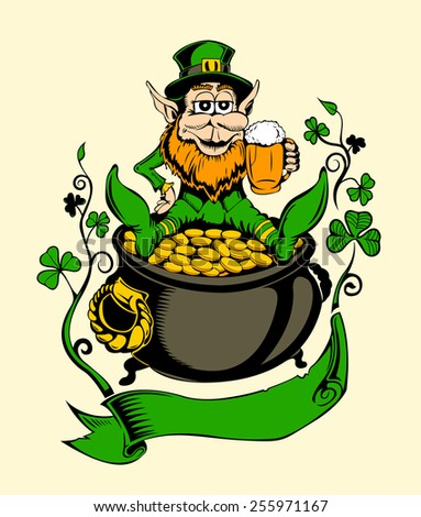 It is image of St. Patrick with a pot of gold. - stock photo