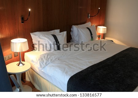It is interior of hotel room at night - stock photo