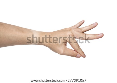 It is Pinch hand isolated on white. - stock photo