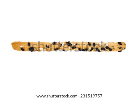 It is Single bread stick isolated on white. - stock photo