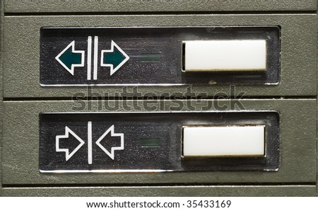 it is the elevator button of open and close. - stock photo
