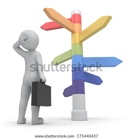 it is too much ways, businessman and directions signs. work path - stock photo