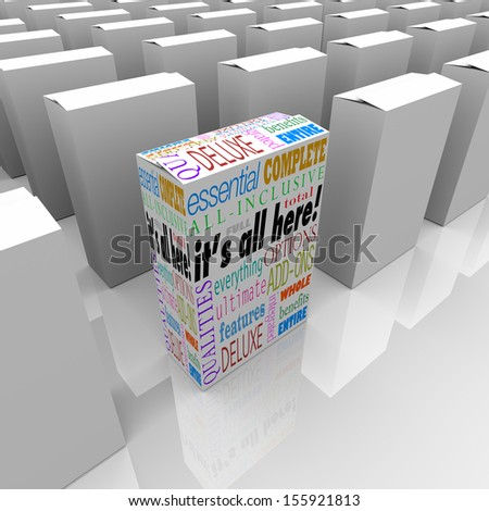 It's All Here words on a box or product package standing out as the best on a store shelf with many competing boxes, but this one contains all the qualities you want in your choice - stock photo