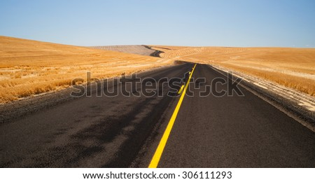 It's 100 degrees today on the black asphalt traveling Oregon - stock photo