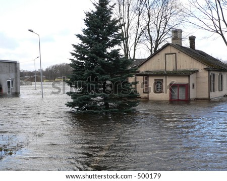 It's flooding down in Riga (Latvia) - stock photo