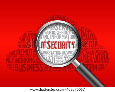 IT Security word cloud with magnifying glass, business concept - stock photo