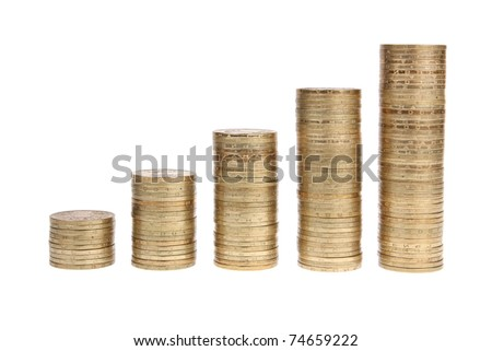 It shows the piles of coins on white background - stock photo