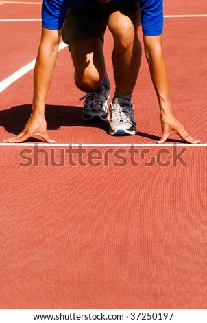 It was a sportsman lined up getting ready for race. - stock photo