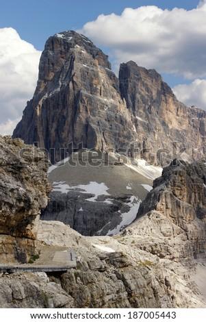 Italian Alps, Sesto Dolomites,summit of the Croda dei Toni - stock photo