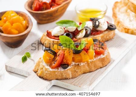 italian appetizer - bruschetta, closeup - stock photo