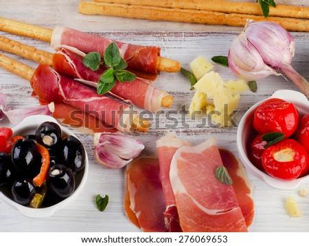 italian appetizer - Mixed Antipasto . Selective focus - stock photo