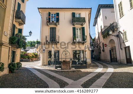 Italian architecture in Acqui Terme - stock photo