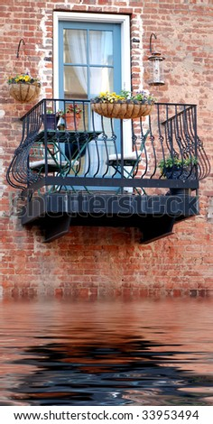 Italian Balcony in Venice overlooking water - stock photo