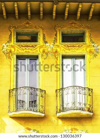 Italian balcony window gold - stock photo