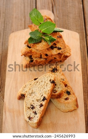 Italian biscotti with fresh mint - stock photo