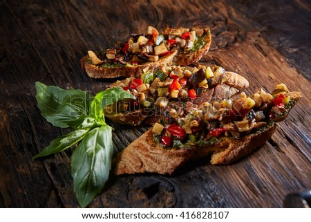 Italian bruschetta with grilled vegetables  - stock photo
